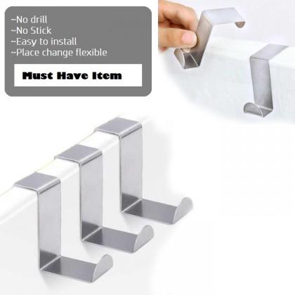 2 Way Multi Function Stainless Steel Over Door Drawer Kitchen Cabinet Hanger Hook