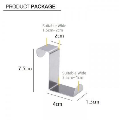 2 Way Multi Function Stainless Steel Over Door Drawer Kitchen Cabinet Hanger Hook (6pcs)