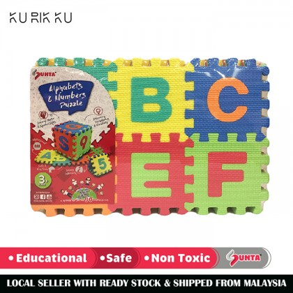 Multicolour Sunta 1108 Non Toxic Alphabet Big Capital Number Baby EVA Foam Play Puzzle Mat 36pcs