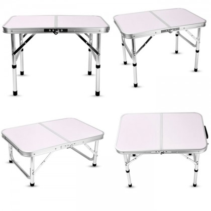 Portable Lightweight Aluminum Folding Camping Table Laptop Bed Desk Adjustable (60x40cm)