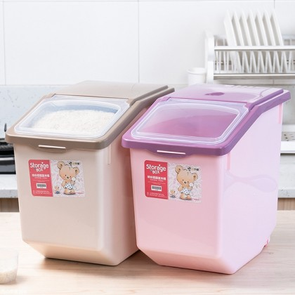 15kg Rice Storage Box Dry Food Dispenser With Wheels