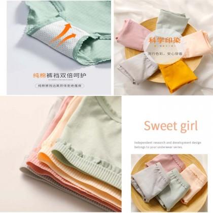 Japanese Style Fungus Lace Women Panties Simple Fashion Underwear Morandi Colour Panty
