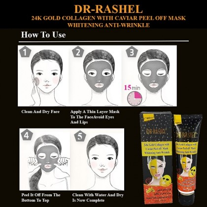 DR-RASHEL 24K Gold Collagen With Cavier Peel Off Mask Whitening Anti-Wrinkle 120ML