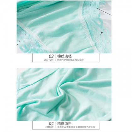 3PCS MODAL Women Panties Breathable Comfortable Lace Sexy Panties Soft Cotton Underwear