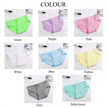 Ribbon Design Women Cotton Crotch Mid-waist Women's Underwear Cute Girls Cotton Fabric Girls Panties
