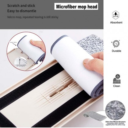 Hand Free Scraping Flat Mop Self Wet Dry Microfiber Window Floor Cleaning Mop Handle Accessories (No Bucket)
