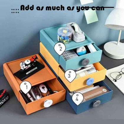 Stackable Shelves Colorful Drawer Desktop Cosmetic Jewelry Vanity Stationary Office Storage Box