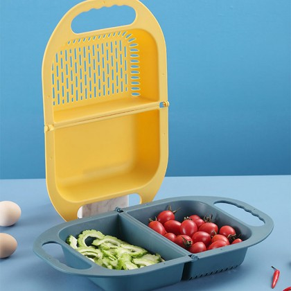 Foldable Drain Basket Colander Fruit Vegetable Washing Strainer Drainer With Bucket Handle