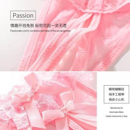 2064 Women Panties Pearl Lace Thong Crotch Panties G-String Sexy Underwear Breathable Lingerie Bikini