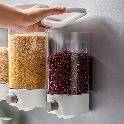1L/1.5L Single Wall Mounted Hanging Grain Rice Storage Tank Cereal Dispenser Corn Flakes Dry Food Storage