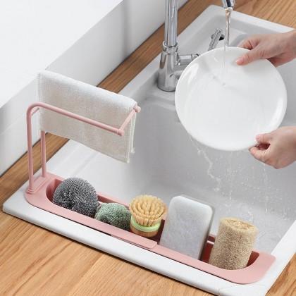 Expandable Telescopic Sink Rack Adjustable Length Sink Drain Storage Rack Holder Caddy Sponge Towel Dish Basket Brush Organizer
