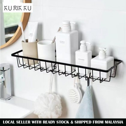 Metal Wall-Mounted Storage Shelf No Drill Hanging Basket Organizer With Hook