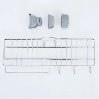 Kitchen Bathroom Stainless Steel Sink Water Tap Caddy Organizer Faucet Sponge Holder Organizer for Soap Brush Scrubber Towel Hanging Drying Rack