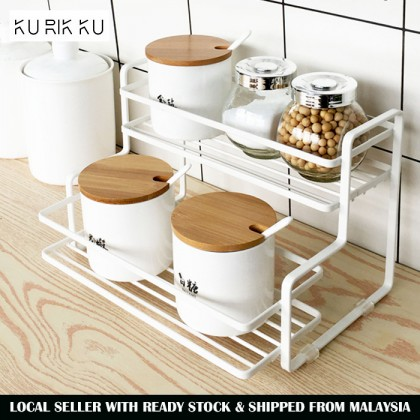 Metal 2 Tier Spice Rack Pantry Organizer Countertop Kitchen Seasoning Rack for Jar Bottle Toiletries