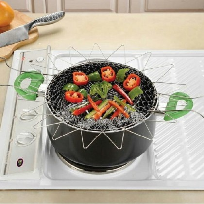 Chef Basket 12 in 1 Kitchen Tool Steam Rinse Deep Fry Fold Flat Easy To Store