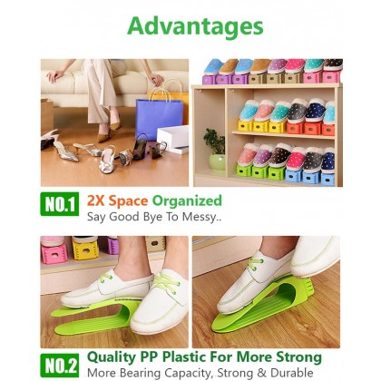 Two-Tier Plastic Shoes Rack Storage