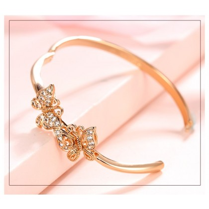 Twins Butterfly Clip On Bangle Bracelet