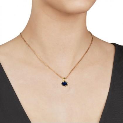 24K Gold Blue Gem Stone Treasure Bag Necklace Pendant