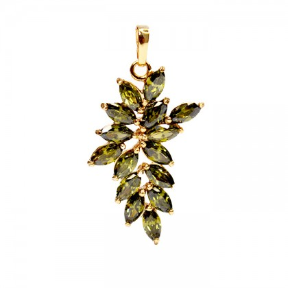 24K Mint Green Leaves Stone Necklace Pendant