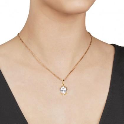 24K Gold White Clear Elizerbeth Necklace Pendant