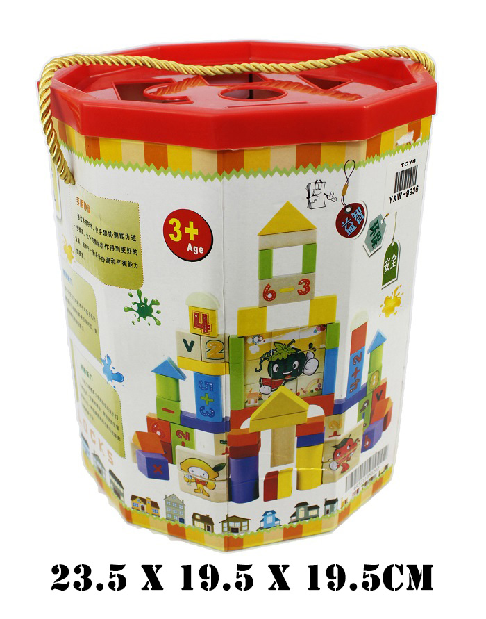 Colorful Carartoon Forruit Blocks Cylinder Block 72PCS