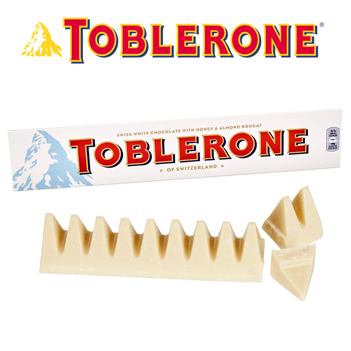 TOBLERONE Swiss White Chocolate With Honey & Almond Nougat 50g / 100g x 2pkt