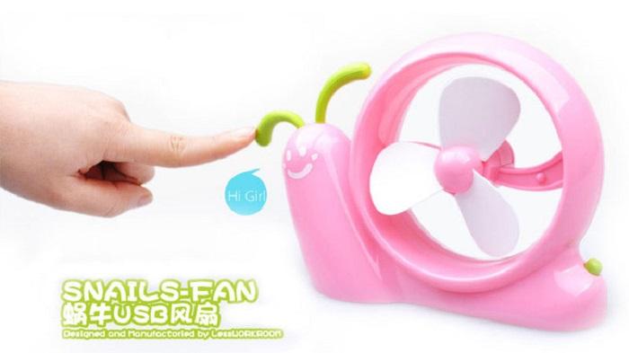 USB Battery Mini Snail Fan Portable Cartoon Mini Desk Snail Air Fan Pink