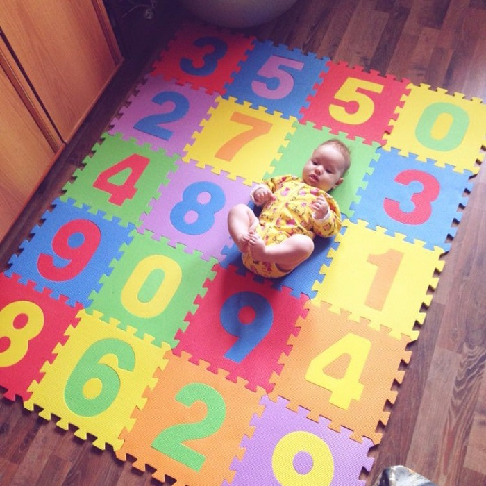 Sunta Number Puzzle Carpet Baby Play Mat Floor Puzzle Mat EVA Children's Foam Carpet Mosaic floor Developing Crawling Rugs 10Pcs