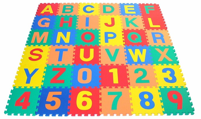 Sunta English Alphabet Number Big Capital Baby EVA Foam Play Floor Puzzle Crawling Mat Multicolor Non Toxic Material 36Pcs