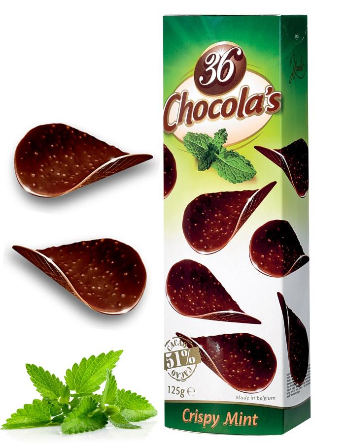 Chocola's CrispyMint CrunchyStrong DarkChocolate 125G