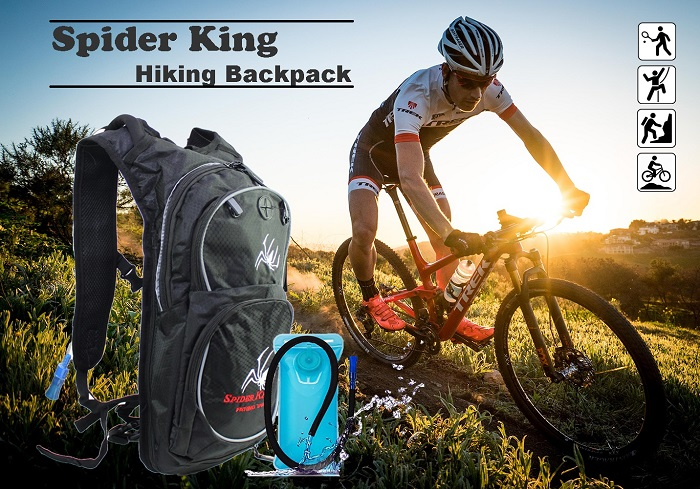 Spider King Outdoor Sports Travel Bike Hiking Backpack With 2L Water Bladder Bag