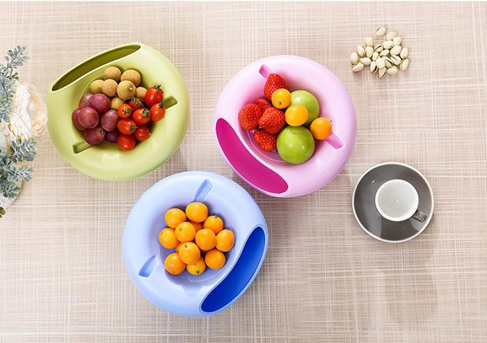 Multi Function Handphone Snack Bowl Double Layer Storage Dishes Organiser