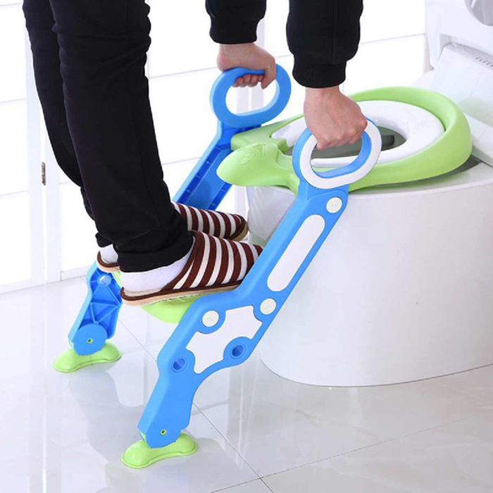Baby Children Safety Folding Ladder Toilet Potty Seat Chair with Adjustable Ladder