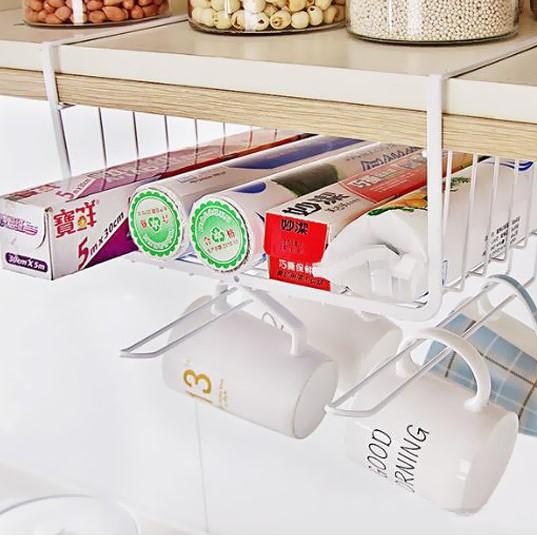 Multi Purpose Metal Hanging Under Shelf Drawer Storage Organizer Basket
