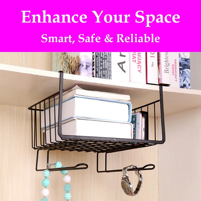Multi Purpose Metal Hanging Under Shelf / Drawer Storage Organizer Basket