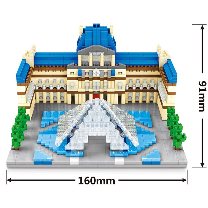 Wise Hawk 2460 The Louvre Museum 3D Building Block DIY Toy Gift