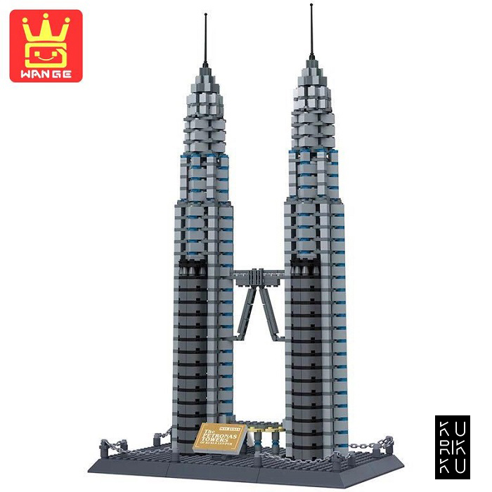 Wange 8011 The Petronas Towers fo Kuala Lumpur Malaysia 3D Building Block DIY Toy Gift