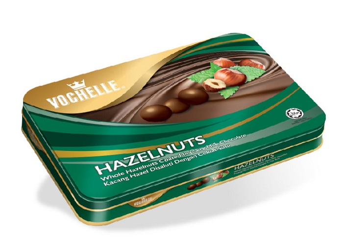 Vochelle Hazelnut Covered With Milk Chocolate Packed In Rectangular Tin