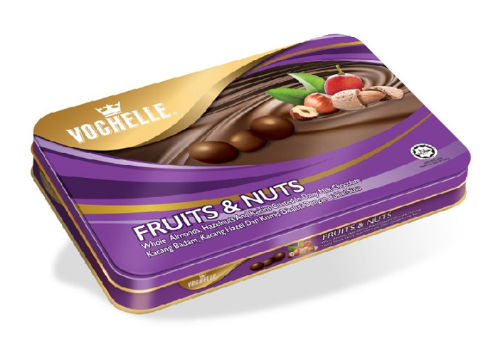 Vochelle Fruits & Nuts Covered Milk Chocolate Packed In Rectangular Tin