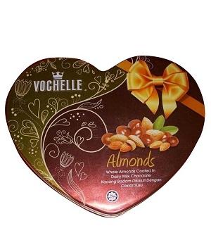 Vochelle Almonds Milk Chocolate Packed In Love Shape Tin 180G