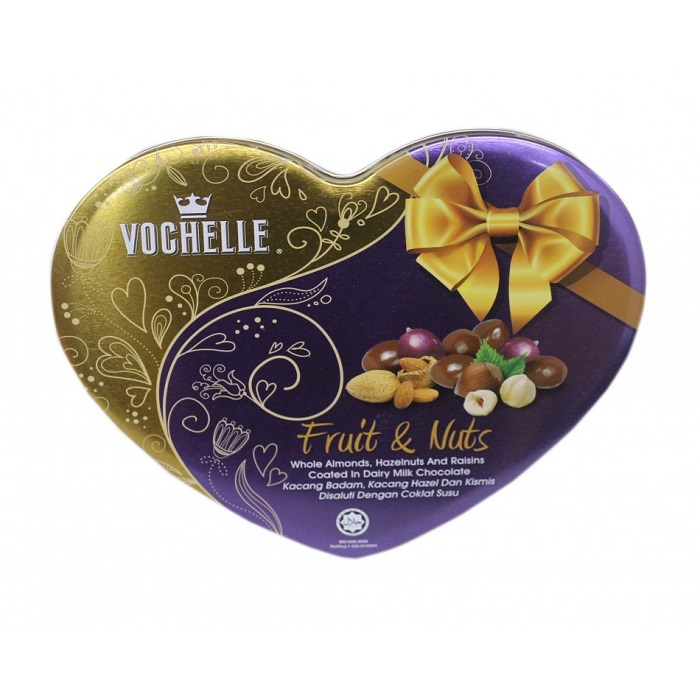 Vochelle Fruits & Nuts Covered Milk Chocolate Packed In Love Shape Tin 180G