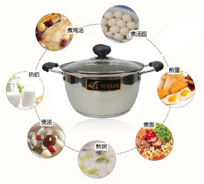 Stainless Steel Gas Stoves Pot Soup Pan Induction with Glass Cover