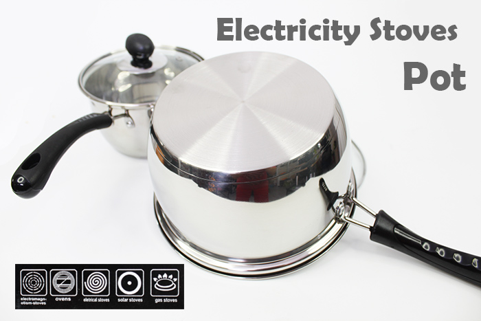 Stainless Steel Gas And Electricity Stoves Handy Pot With Glass Cover
