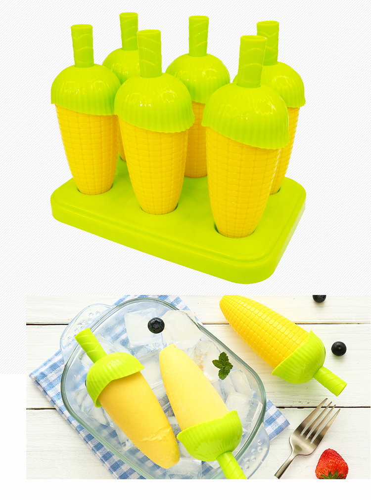 Set of 6 Frozen Ice Cream Mold Maker Tray Pan Kitchen DIY Stick
