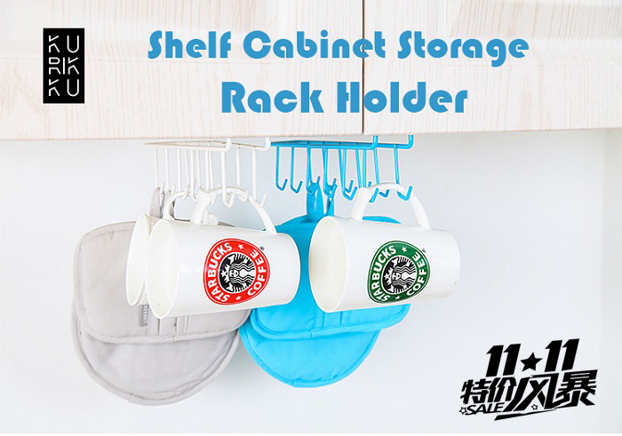 Multi Purpose Metal Hook Hanger Organizer Cup Holder White