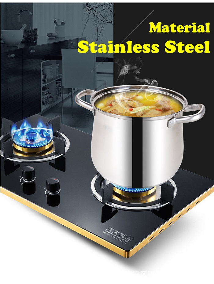 Stainless Steel Double Handle Soup Pot With Glass Cover 26cm