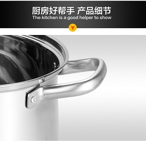 Stainless Steel Double Handle Soup Pot Wiith Glass Cover 24cm