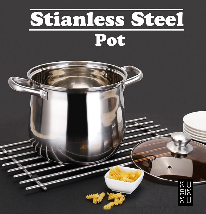 Stainless Steel Double Handle Soup Pot Wiith Glass Cover 22cm