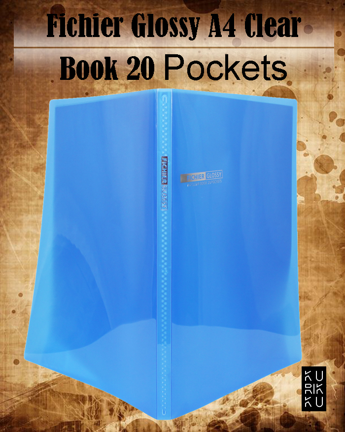 Clear File 20 Pockets Book A4 Size Blue