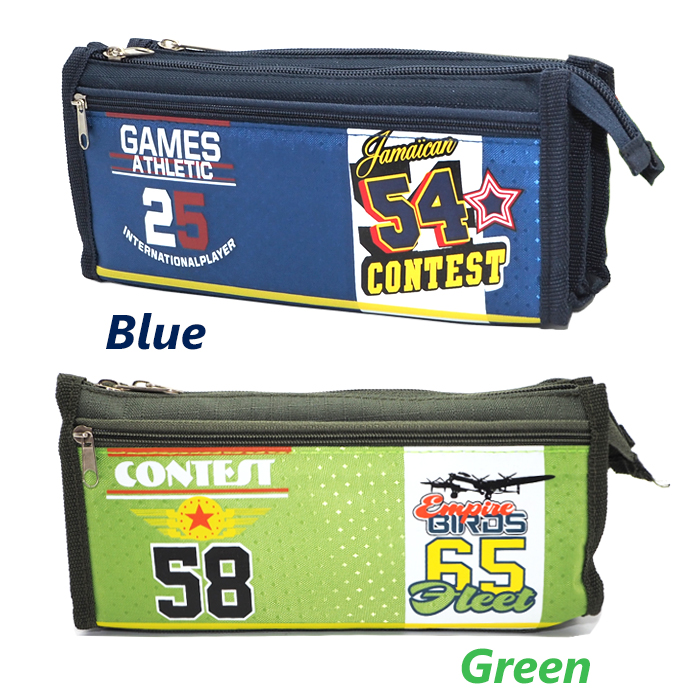 Canvas Multi Layers Pencil Case / Box SF1510 (Green)